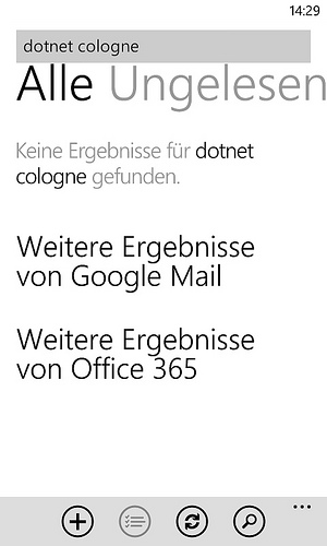 Windows Phone - E-Mail - Suche