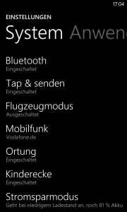 Windows Phone Screenshot - Einstellungen - Bluetooth und NFC