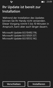 Windows Phone 8 GDR3 Preview - Updatemeldung