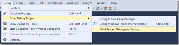 Debug > Other Debug Targets > Child Process Debugging Setting...