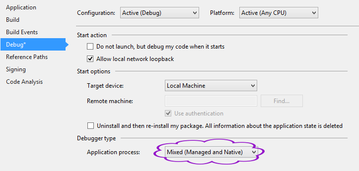 Project Settings > Debug > Application process > Mixed (Managed and Native)